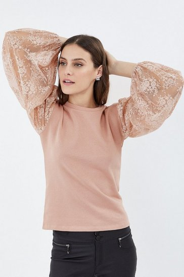 Blush Lace Sleeve Sweatshirt