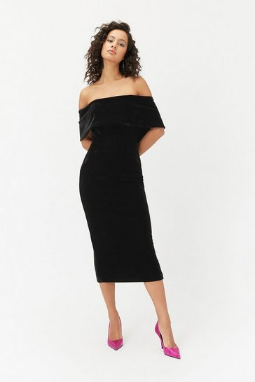Womens Black Velvet Bardot Midi Dress