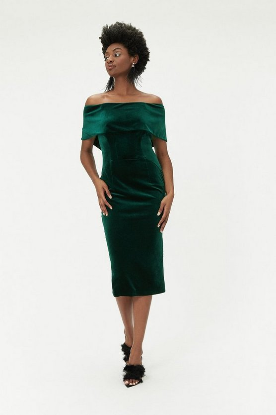 Green Velvet Bardot Midi Dress