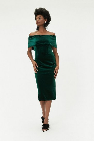 Womens Green Velvet Bardot Midi Dress