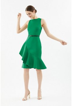 Green Belted Scuba Ruffle Dress