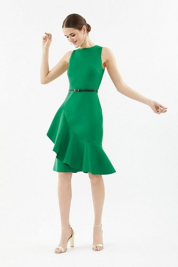 Green Scuba Ruffle Dress With Belt