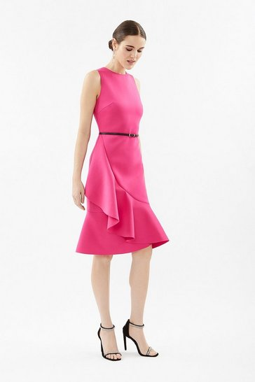 Hot pink Scuba Ruffle Dress With Belt