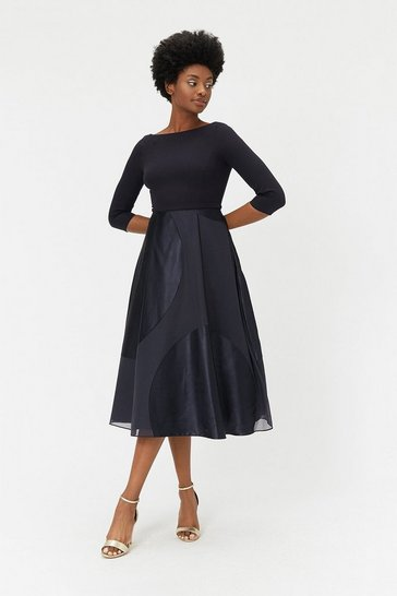 Navy Satin Burnout Full Midi Dress