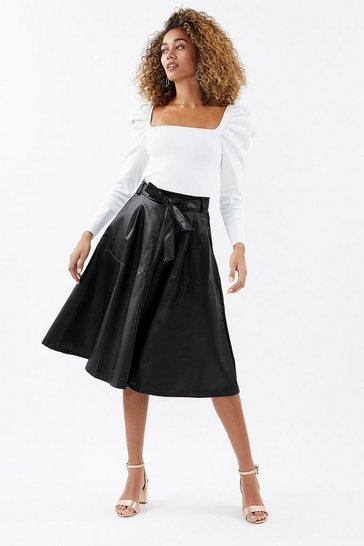 Black Faux Leather Belted Midi Skirt