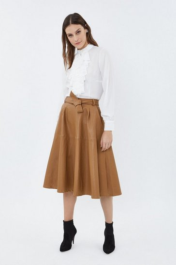 Camel Faux Leather Belted Midi Skirt