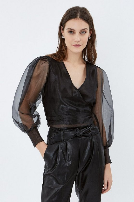 Black Organza Puff Sleeve Wrap Top
