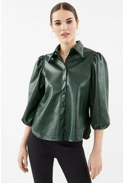 Green Faux Leather Puff Sleeve Shirt
