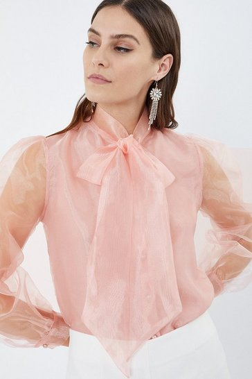 Blush Pussy Bow Organza Blouse