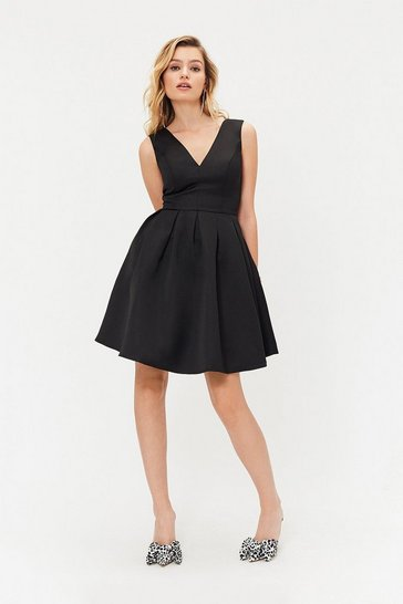 Black Satin Skater Dress