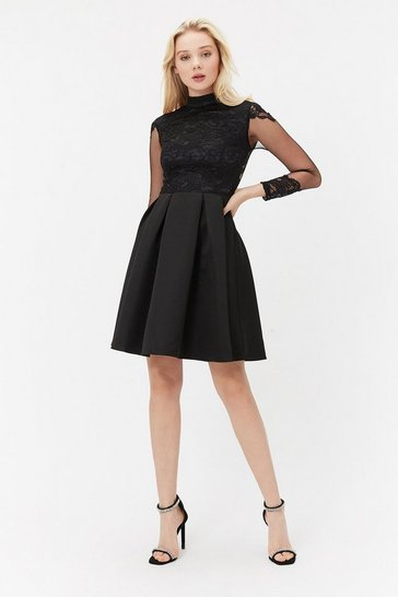 Black Lace Mesh Insert Sleeve Short Dress