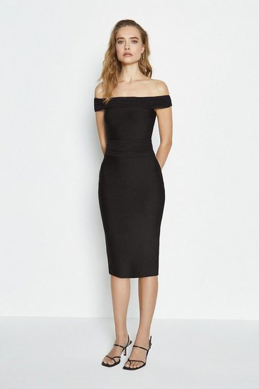 Black Bandage Ruched Detail Midi Dress