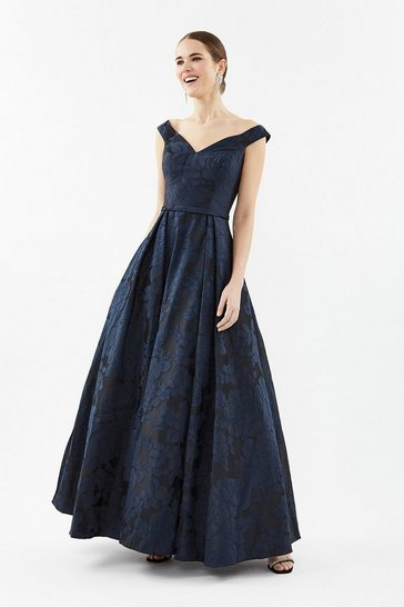 Navy Jacquard V Neck Full Skirt Maxi Dress