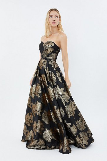 Gold Floral Jacquard Bandeau Maxi Dress