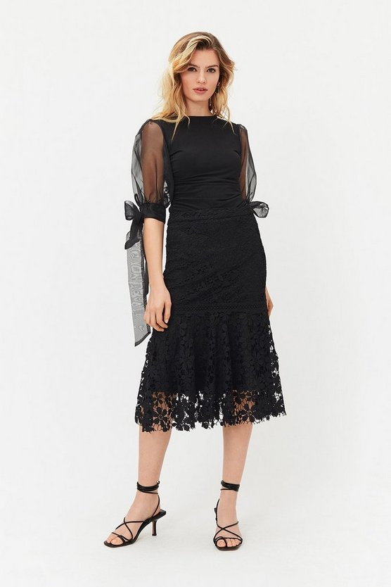 Black Lace Peplum Hem Midi Skirt