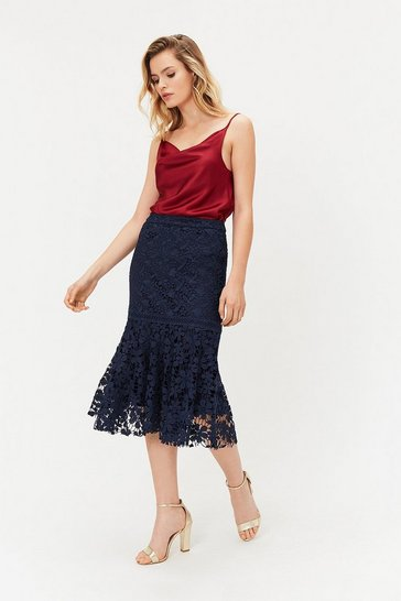 Navy Lace Peplum Hem Skirt