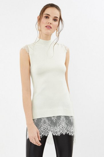 Ivory Lace Detail Tunic Sleeveless Top