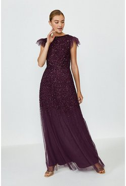 Berry Angel Sleeve Sequin Maxi Dress