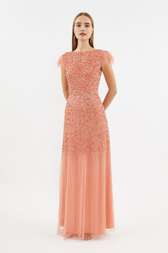 Coral Angel Sleeve Sequin Maxi Dress