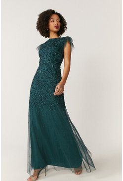Forest Angel Sleeve Sequin Maxi Dress