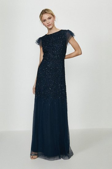 Navy Angel Sleeve Sequin Maxi Dress