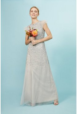 Silver Angel Sleeve Sequin Maxi Dress