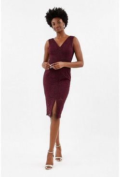 Wine Lace V Neck Dress