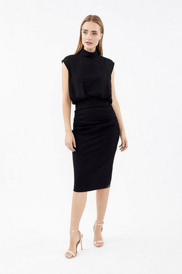 Black High Neck Drape Overlay Dress
