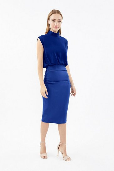 Cobalt High Neck Drape Overlay Dress