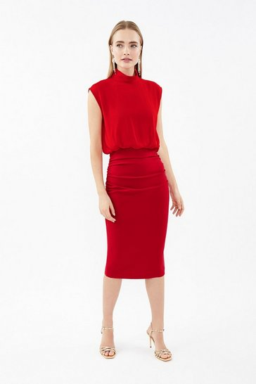 Red High Neck Drape Overlay Dress