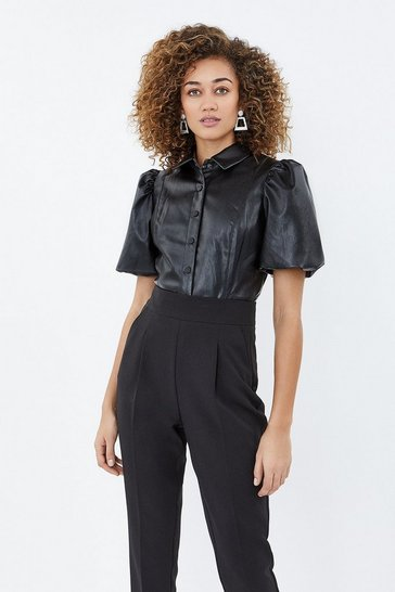Black Puff Sleeve Pu Shirt