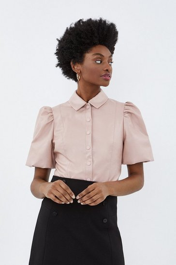 Blush Puff Sleeve Pu Shirt