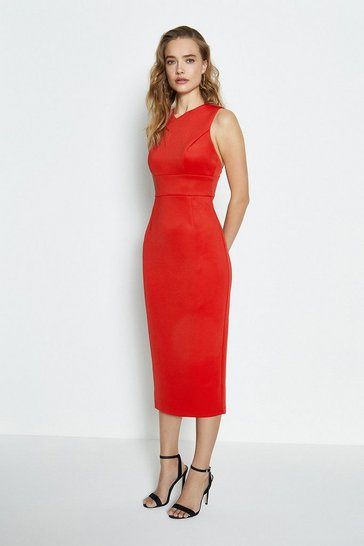 Red Strap Back Detail Scuba Shift Midi Dress