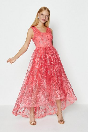 Coral V Neck Embroidered High Low Dress
