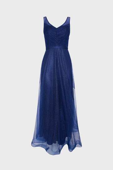 Navy Deep V Neck Glitter Maxi Dress