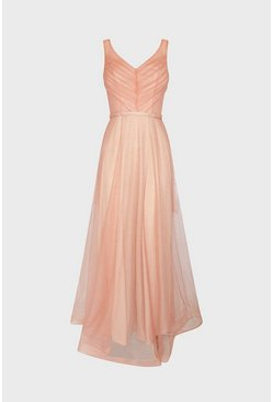 Rose gold Deep V Neck Glitter Maxi Dress