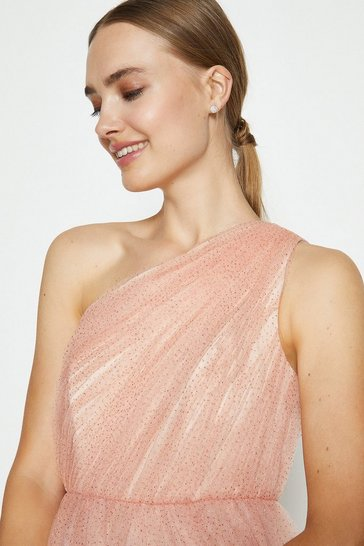 Rose gold One Shoulder Glitter Mesh Maxi Dress