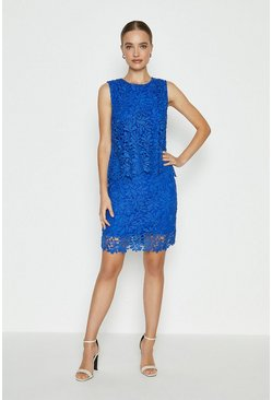 Cobalt Lace Overlay Dress