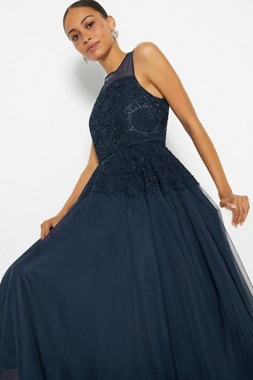 Navy Lace Bodice Tulle Skirt Dress