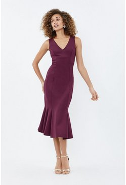 Berry Flippy Hem Seam Detail Midi Dress