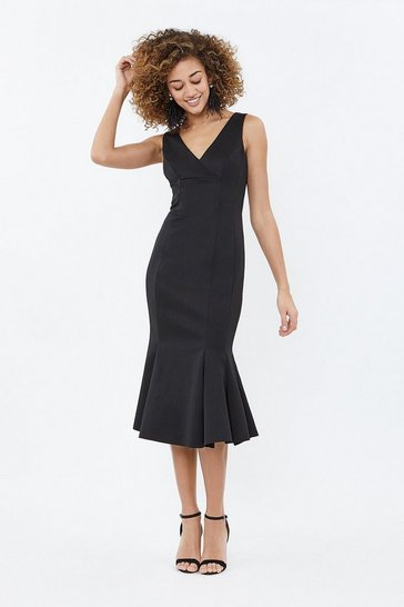 Black Flippy Hem Seam Detail Midi Dress