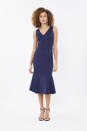 Navy Flippy Hem Seam Detail Midi Dress