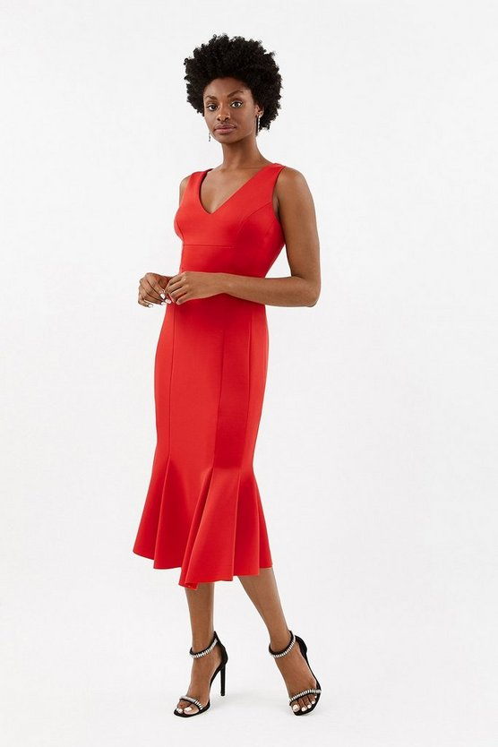 Red Flippy Hem Seam Detail Midi Dress