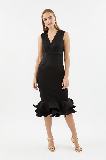 Black Ruffle Hem Shift Dress