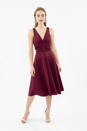 Berry Ruched Front Full Scuba Midi Dress