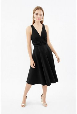 Black Ruched Front Full Scuba Midi Dress
