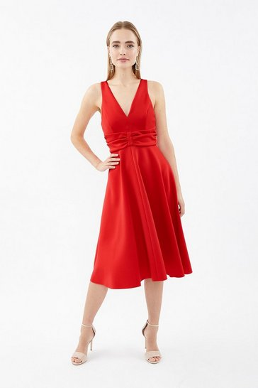Red Ruched Front Full Scuba Midi Dress
