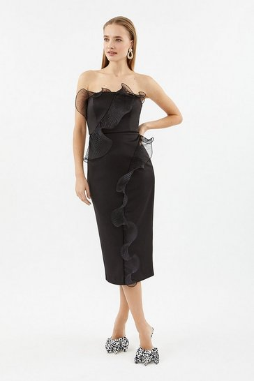 Black Organza Frill Detail Bardot Midi Dress