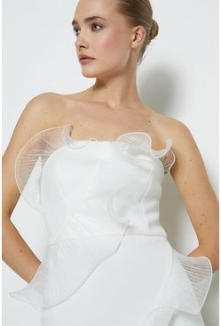 White Organza Frill Detail Bardot Midi Dress