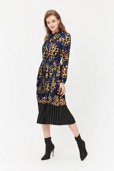 Multi Tie Neck Leopard Print Pleated Midi Dress